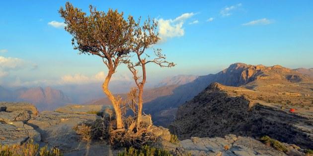 Das weitläufige Hajjar-Gebirge nach einem regenreichen Tag.