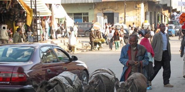 Älterer Mann mit Eseln in Ätiopien