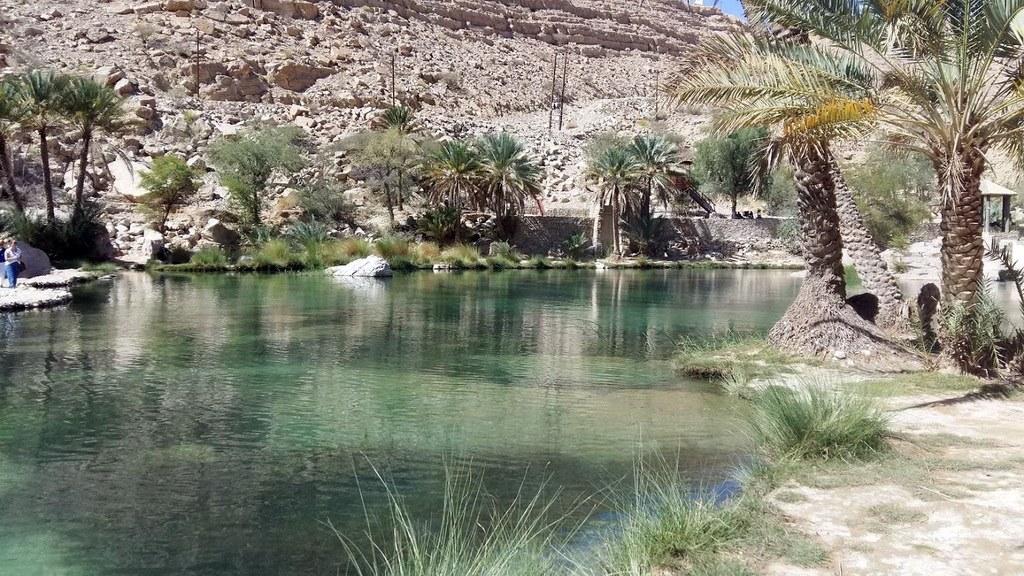 Das Wadi Bani Khaled mit seinen Pools und Palmen