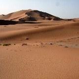 Die endlose Weite der Wüste wird nur durch Spuren von kleinen und größeren Besuchern gekennzeichnet.